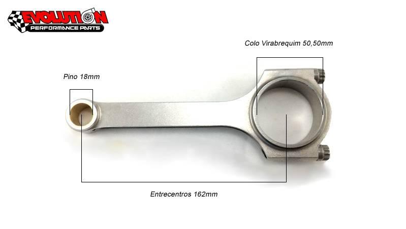 JOGO DE BIELAS EVOLUTION FORJADA VW AP PERFIL-H 162mm  - EVOLUTION PERFORMANCE
