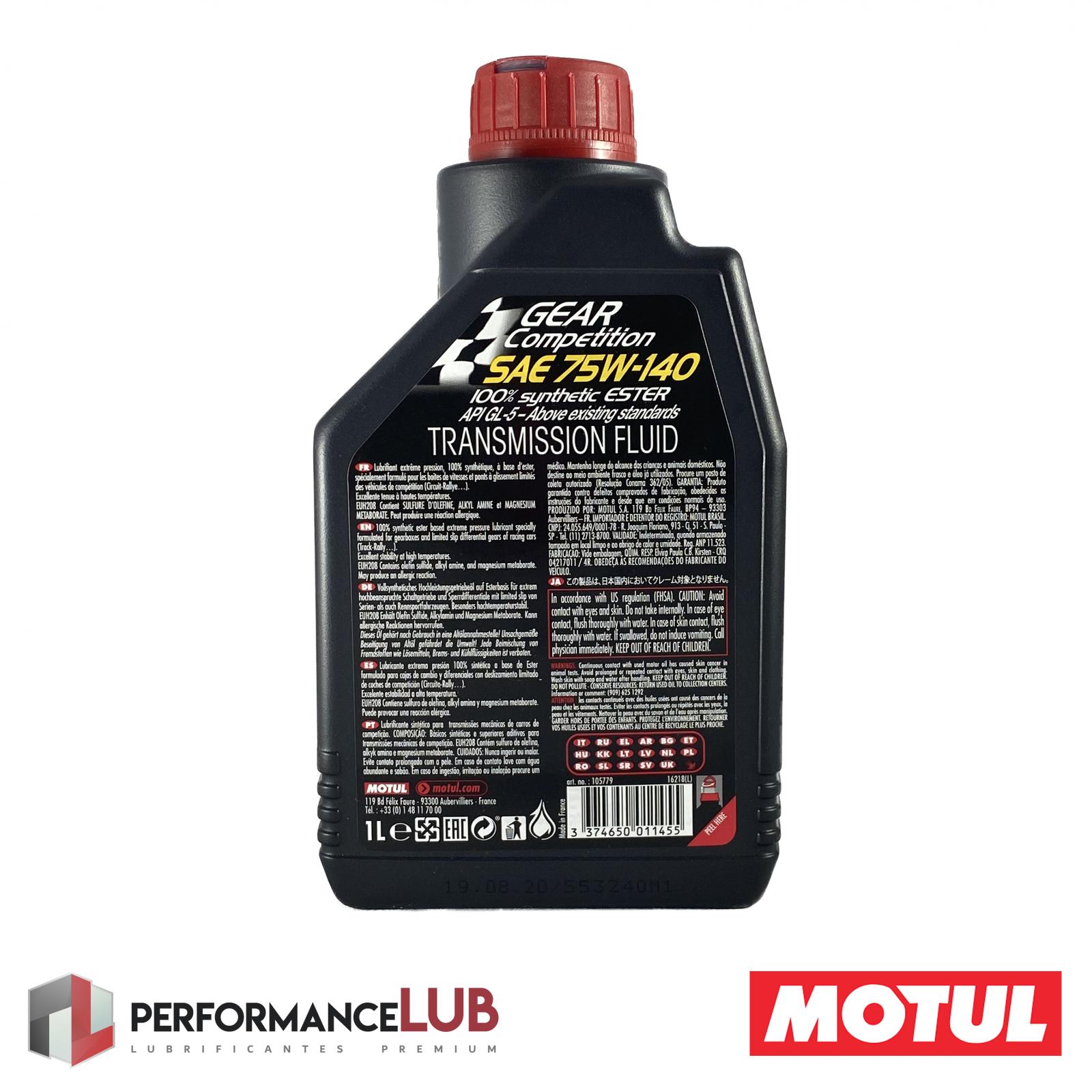 Gear Competition 75W140 - API GL-5 - 1 litro - PerformanceLUB Lubrificantes Premium