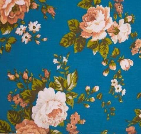 Floral fundo azul - BAÚ DA VOVÓ