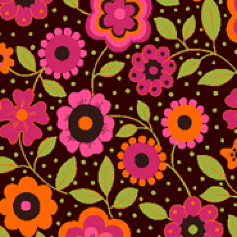 Floral fundo marrom - BAÚ DA VOVÓ