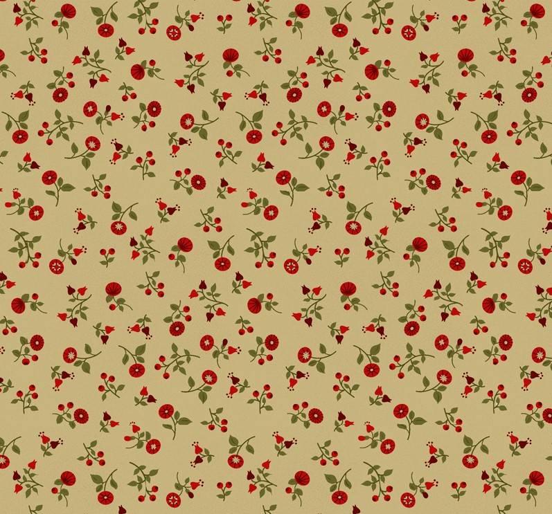 Floral fundo bege - BAÚ DA VOVÓ