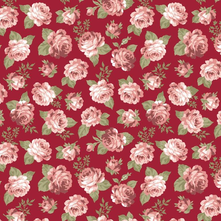 Floral Viena mini fundo bordô - BAÚ DA VOVÓ