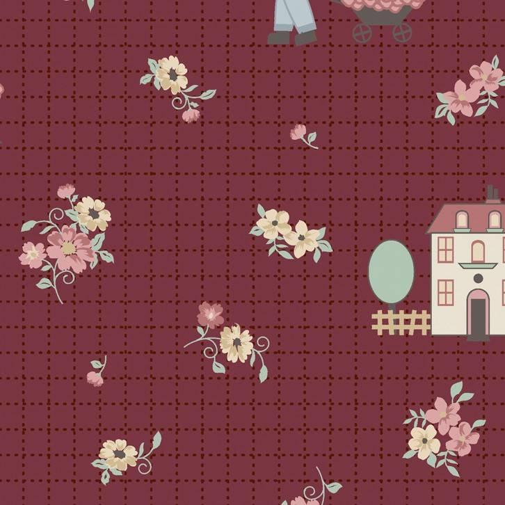 Floral fundo bordô - BAÚ DA VOVÓ