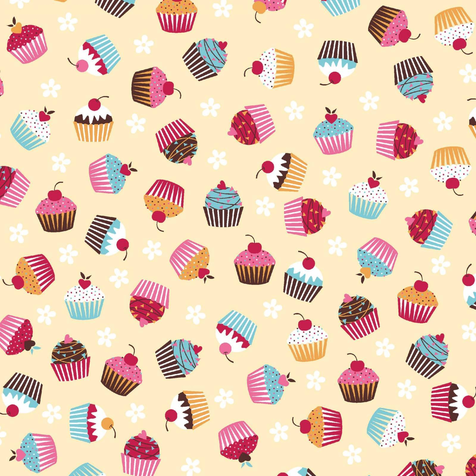 Cupcake fundo bege - BAÚ DA VOVÓ
