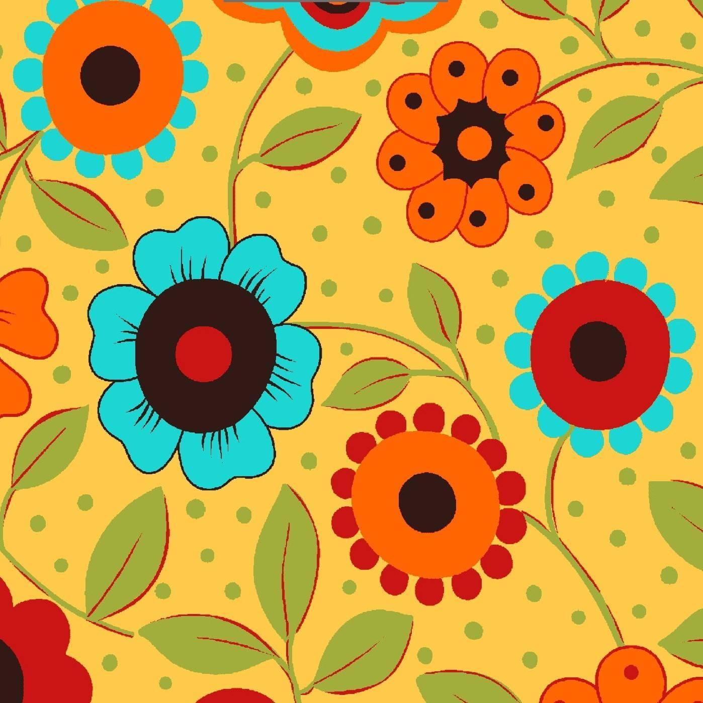 Floral fundo amarelo - BAÚ DA VOVÓ