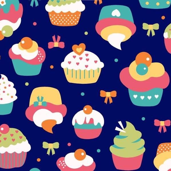 Cupcake fundo azul - BAÚ DA VOVÓ