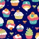 Cupcake fundo azul