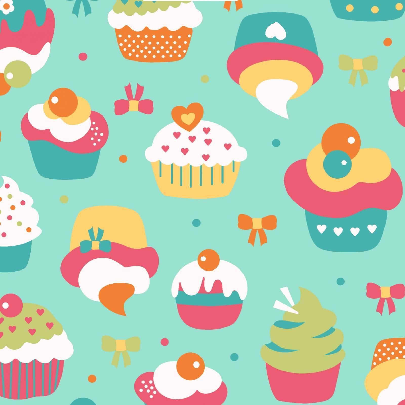 Cupcake fundo verde água - BAÚ DA VOVÓ