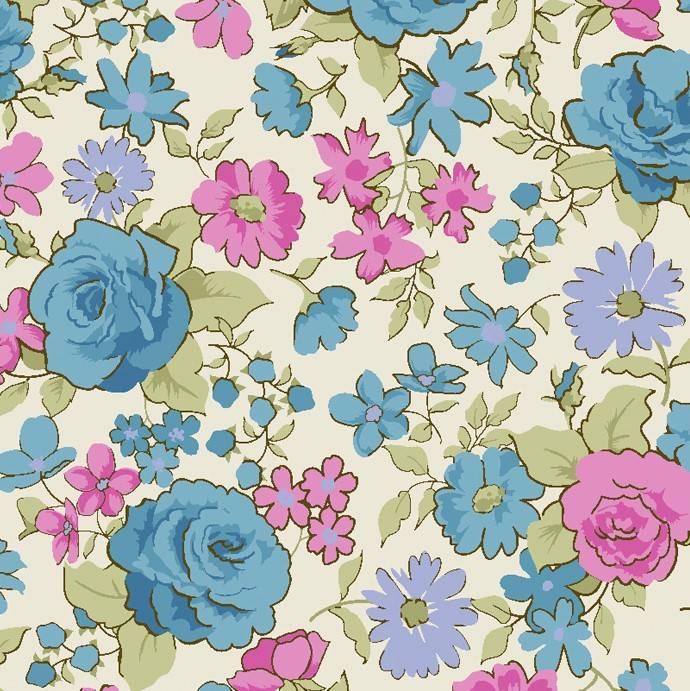 Rosas pequenas azul  - BAÚ DA VOVÓ
