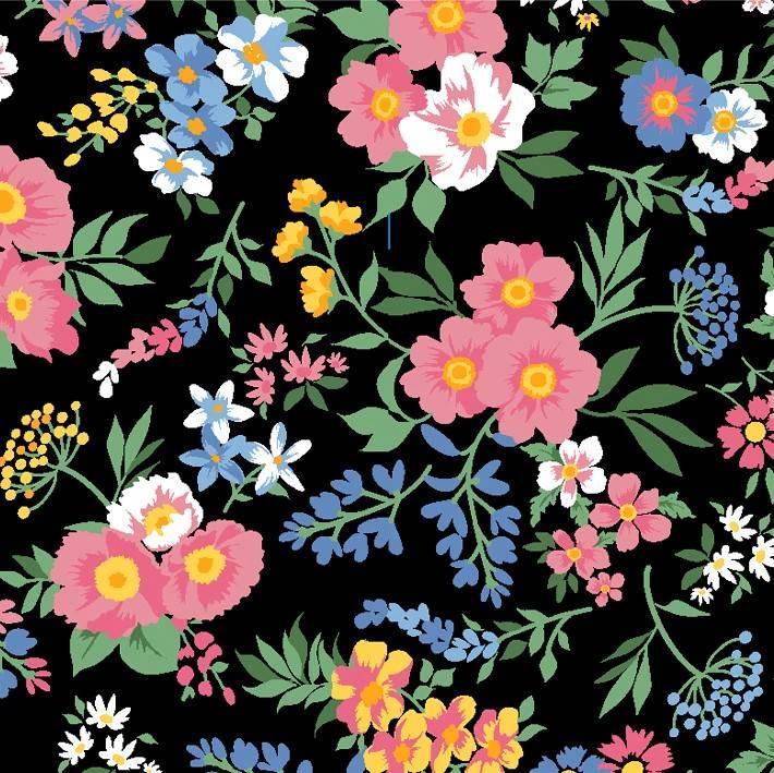 Bouquet de Flores fundo preto - BAÚ DA VOVÓ