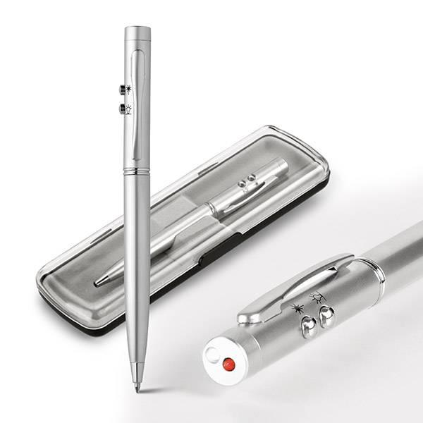 Caneta esferográfica c/ laser e LED Ebre - Hygge Gifts - HYGGE GIFTS