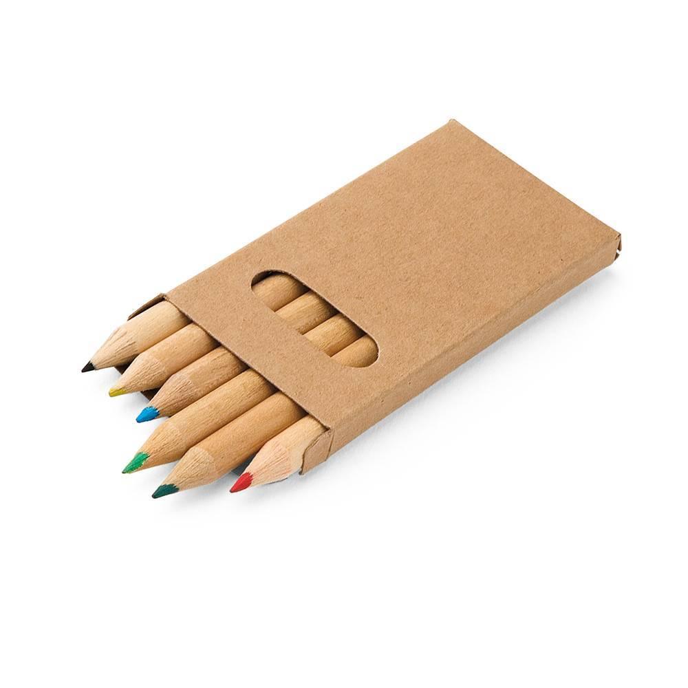 Caixa de cartão com 6 mini lápis de cor - Bird - HYGGE GIFTS
