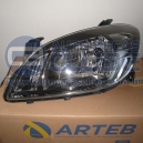 Farol Chevrolet Celta e Prisma 12 acima Dark Chrome lado motorista Arteb Numero GM 94750225