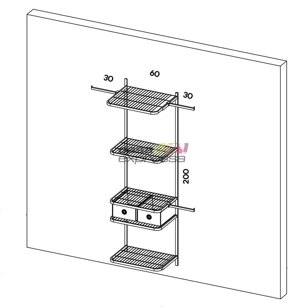 Closet Aramado - Linear CLR111 - 1,30m - CASA EXPRESSA