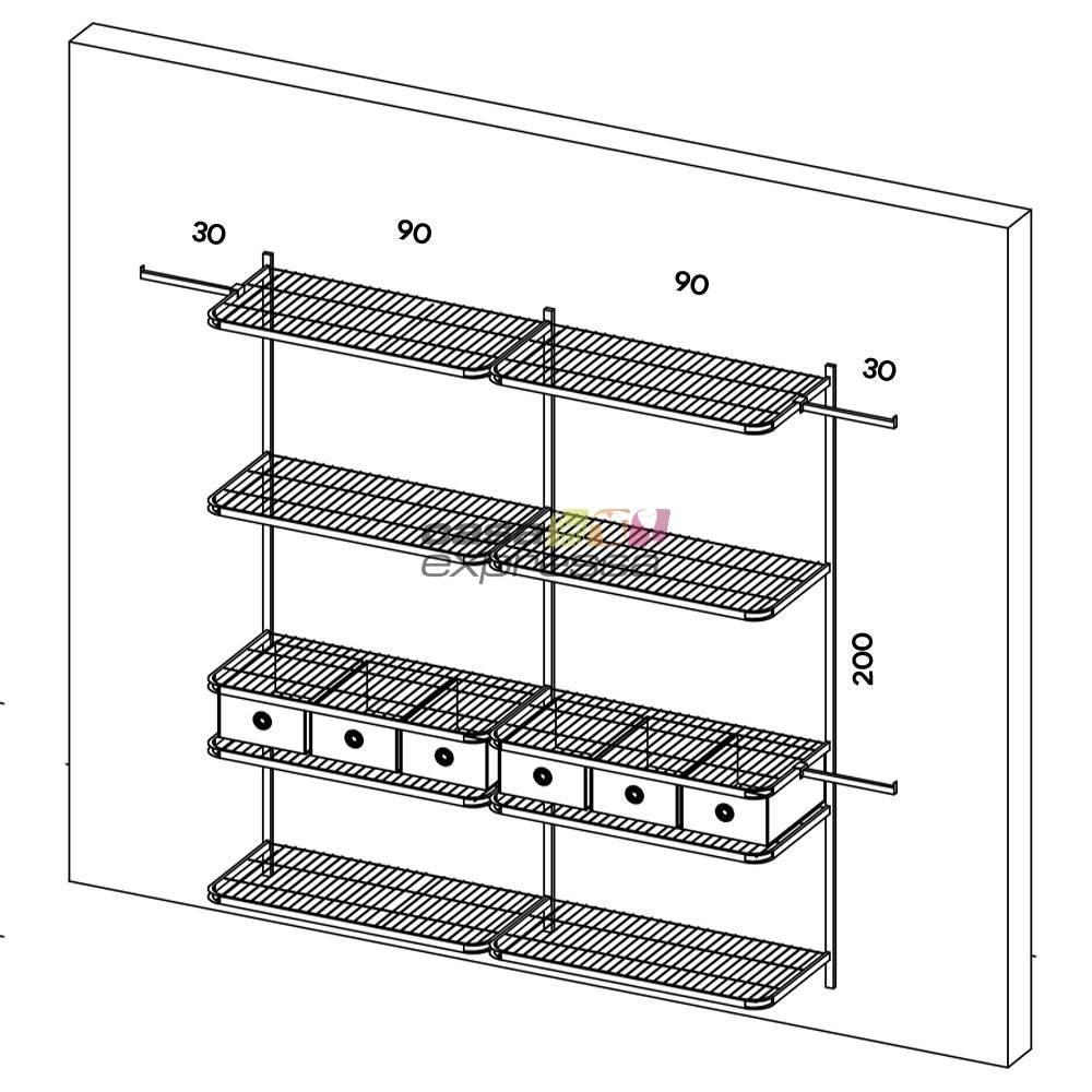 Closet Aramado - Linear CLR111 - 2,50m - CASA EXPRESSA