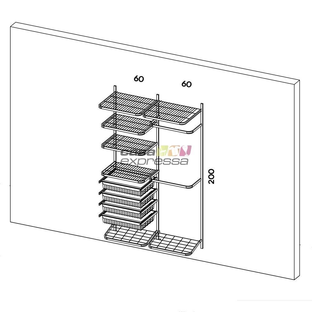 Closet Aramado - Linear CLR250 - 1,30m - CASA EXPRESSA