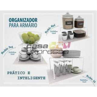 Kit Organizador de Armário de Cozinha Aramado Prateleiras 3 unidades Branco em Aço