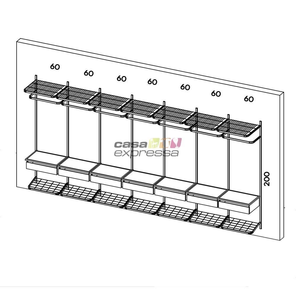 Closet Aramado - Linear CLR161 - 4,30m - CASA EXPRESSA