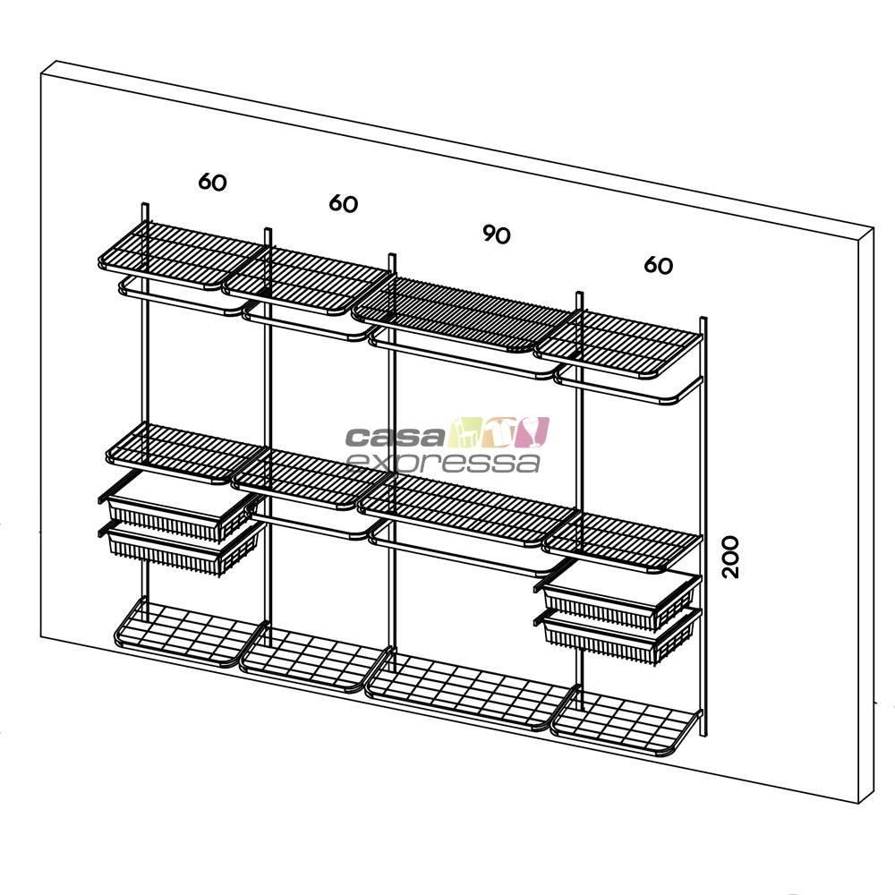 Closet Aramado - Linear CLR221 - 2,80m - CASA EXPRESSA
