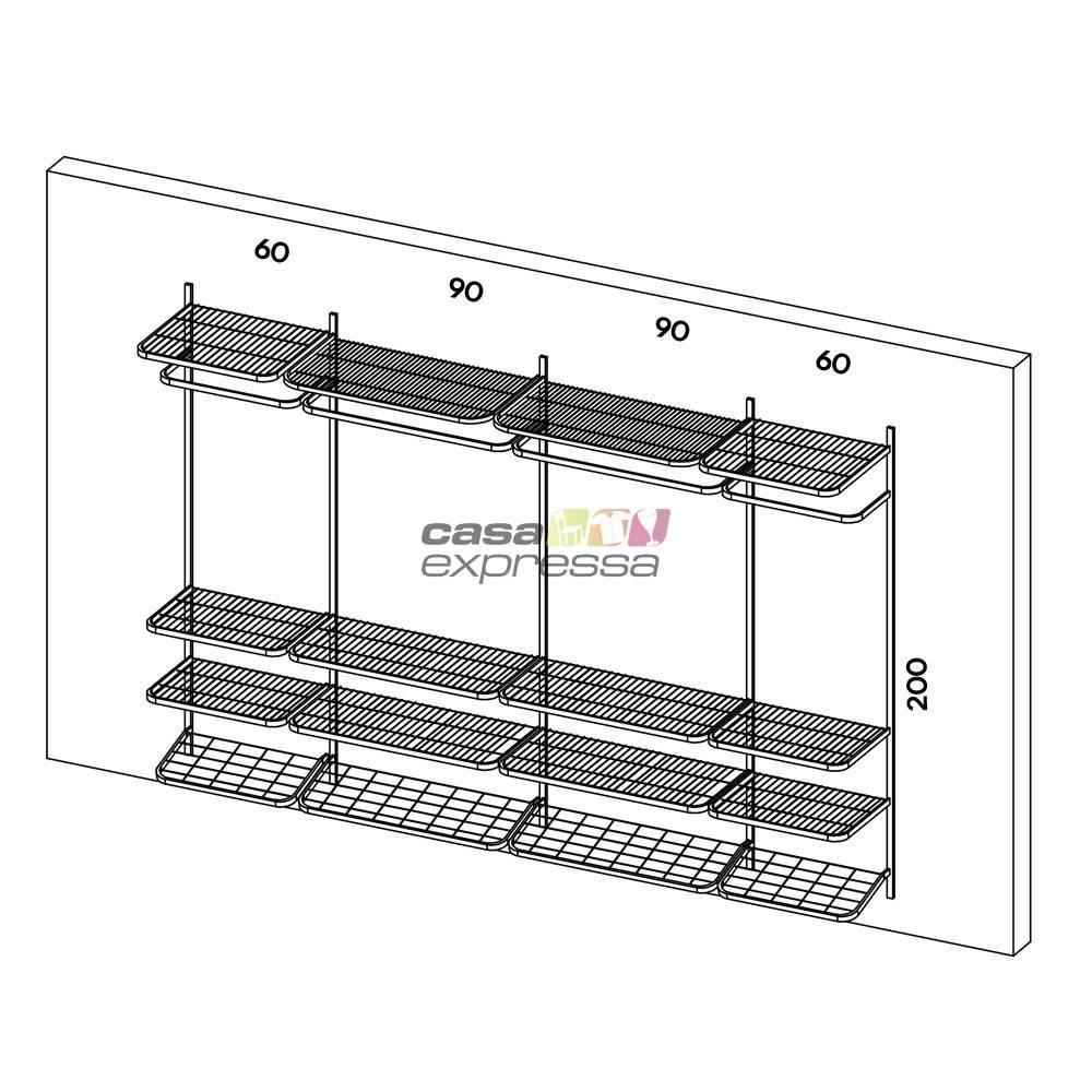 Guarda Roupa closet aramado sem portas CLR285 - 3,10m - CASA EXPRESSA