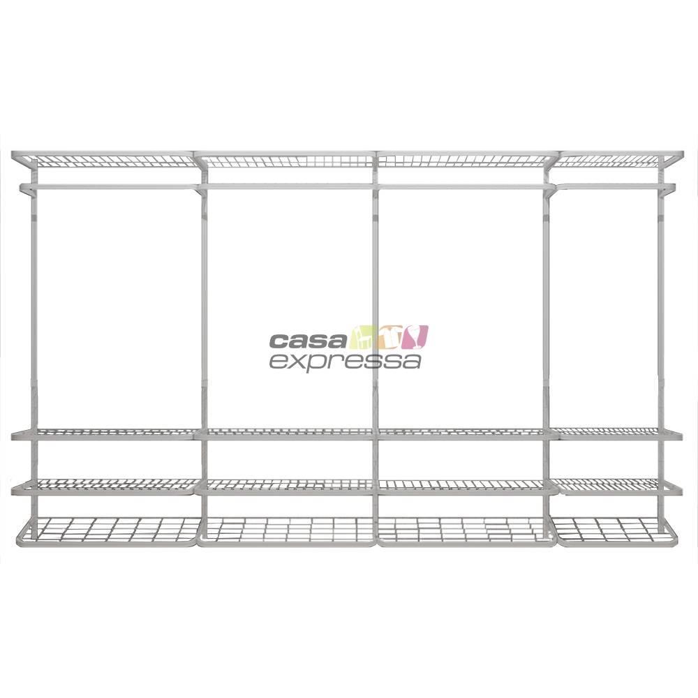 Guarda Roupa closet aramado sem portas CLR285 - 3,40m - CASA EXPRESSA