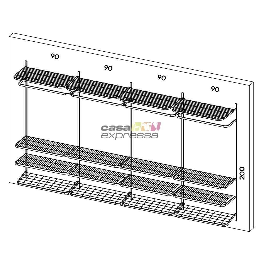 Guarda Roupa closet aramado sem portas CLR285 - 3,70m - CASA EXPRESSA
