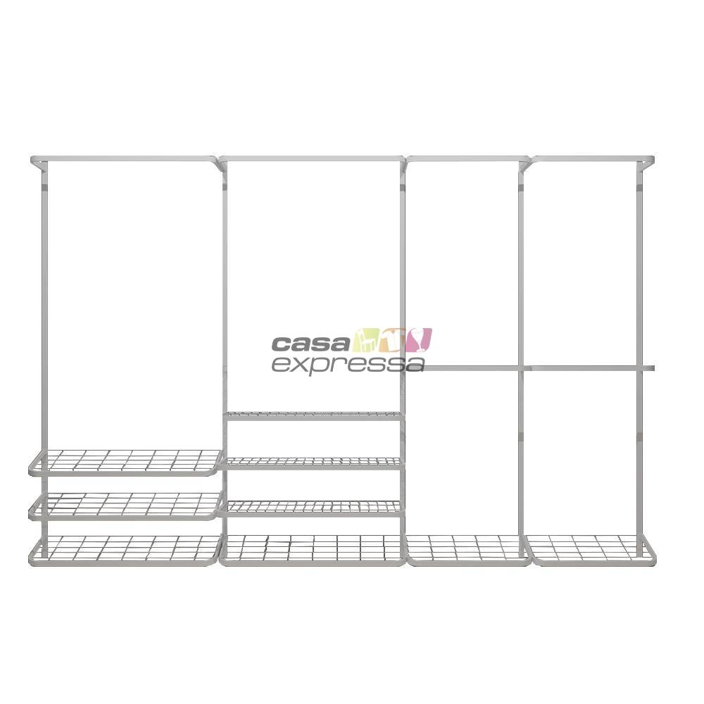 Guarda roupa closet aramado aberto CLR281 - 3,10m - CASA EXPRESSA
