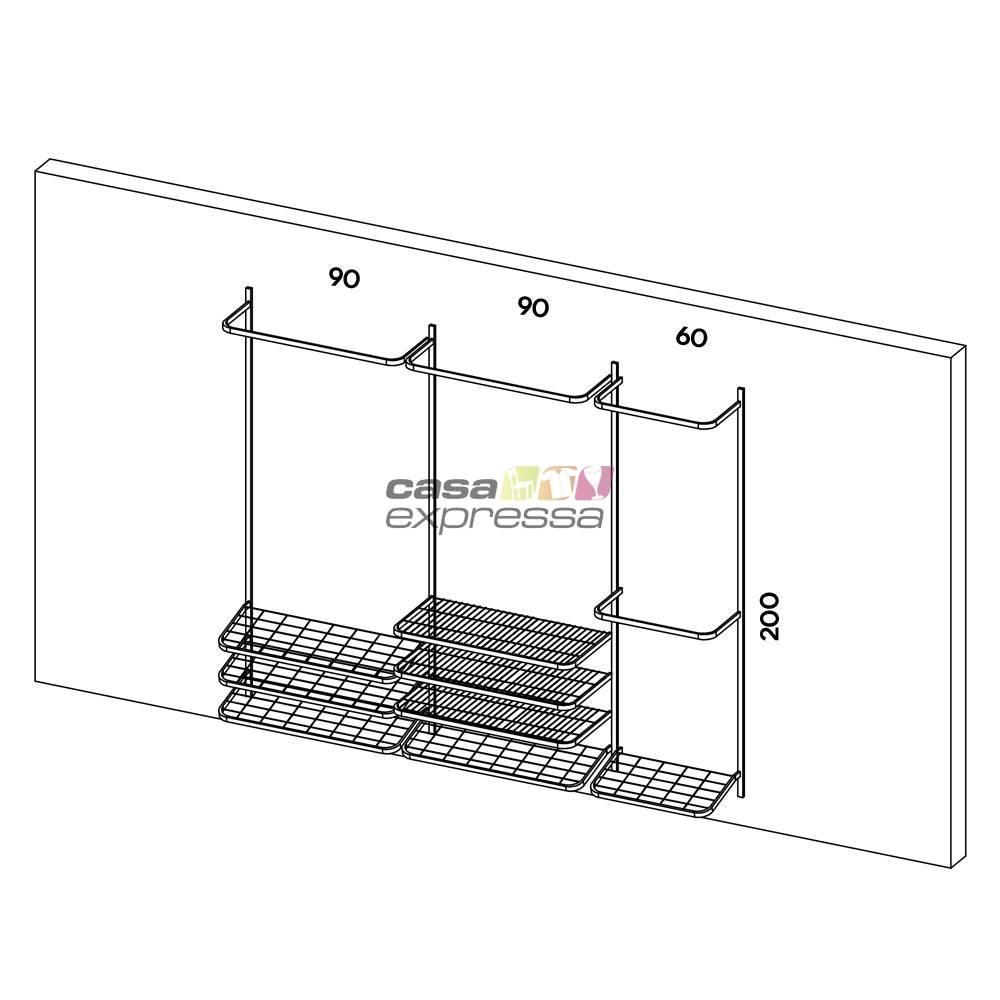 Guarda roupa closet aramado aberto CLR281 - 2,50m - CASA EXPRESSA