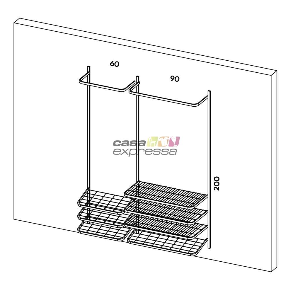 Guarda roupa closet aramado aberto CLR281 - 1,60m - CASA EXPRESSA