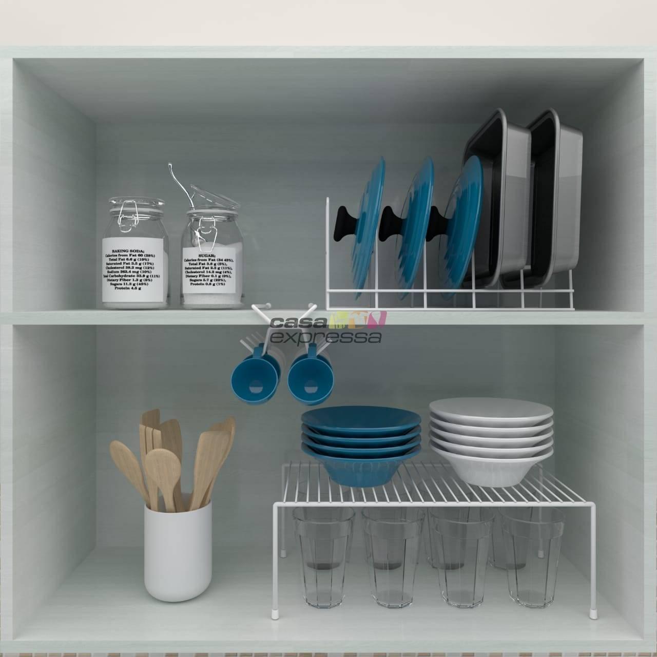 Kit Organizador Armário Cozinha Prateleira Xícara Panela Pra