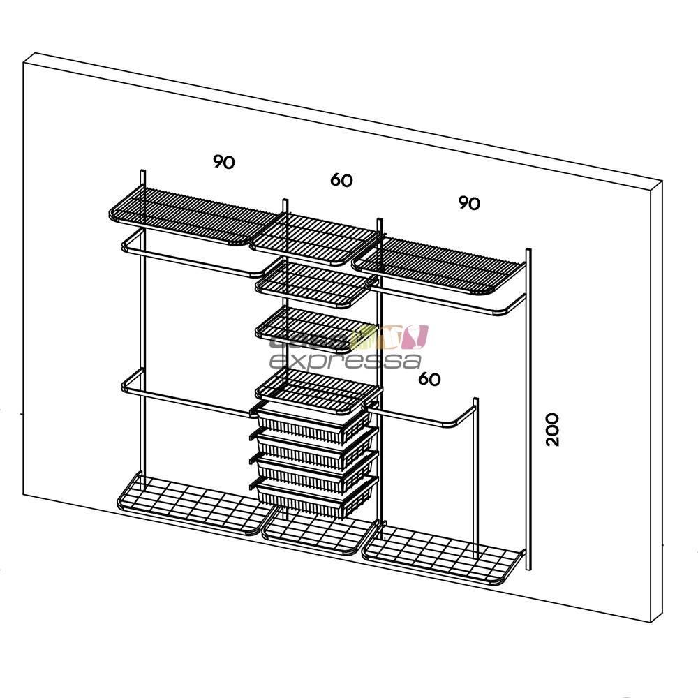 Closet Aramado - Linear CLR250 - 2,50m - CASA EXPRESSA