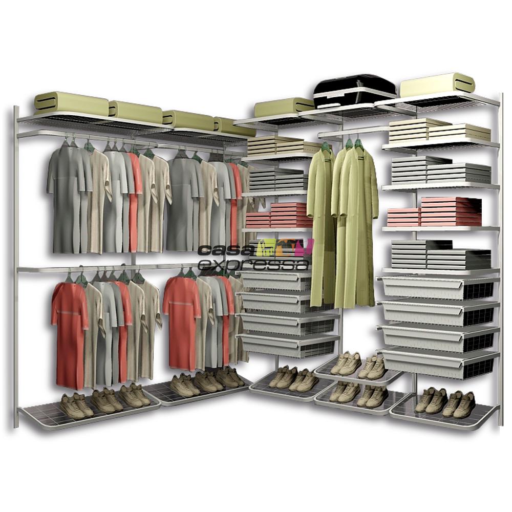 Closet Aramado em L CLL10 - 2,40m x 1,90m - CASA EXPRESSA