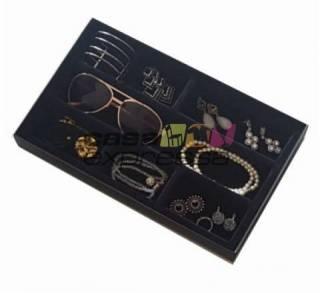 Caixa organizadora para óculos e bijoux aveludada preta