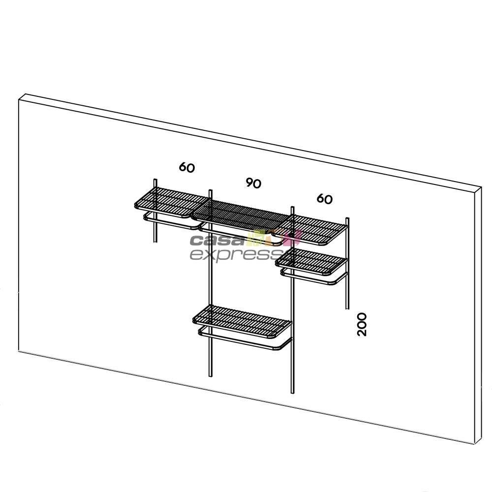 Closet Aramado - Linear CLR192 - 2,20m Smart Black - CASA EXPRESSA