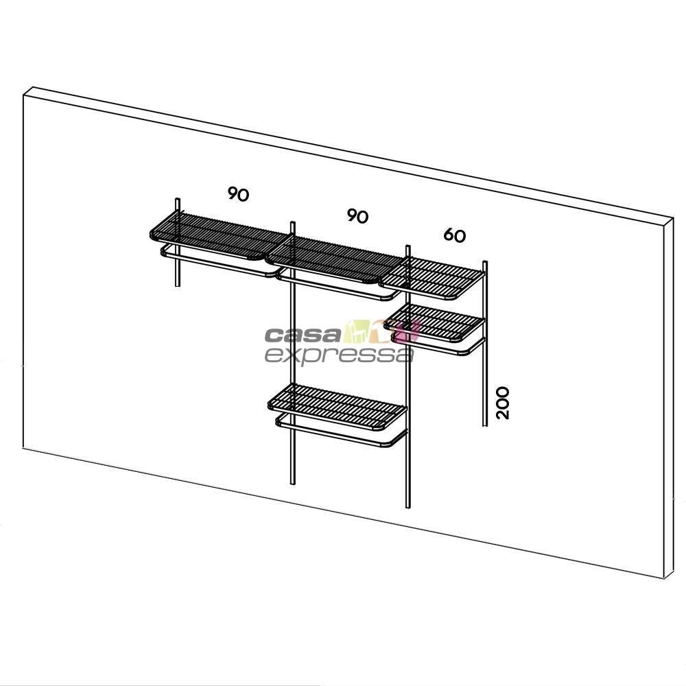 Closet Aramado - Linear CLR192 - 2,50m Smart Black - CASA EXPRESSA