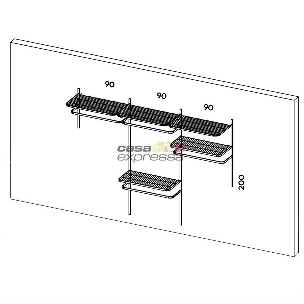 Closet Aramado - Linear CLR192 - 2,80m Smart Black - CASA EXPRESSA
