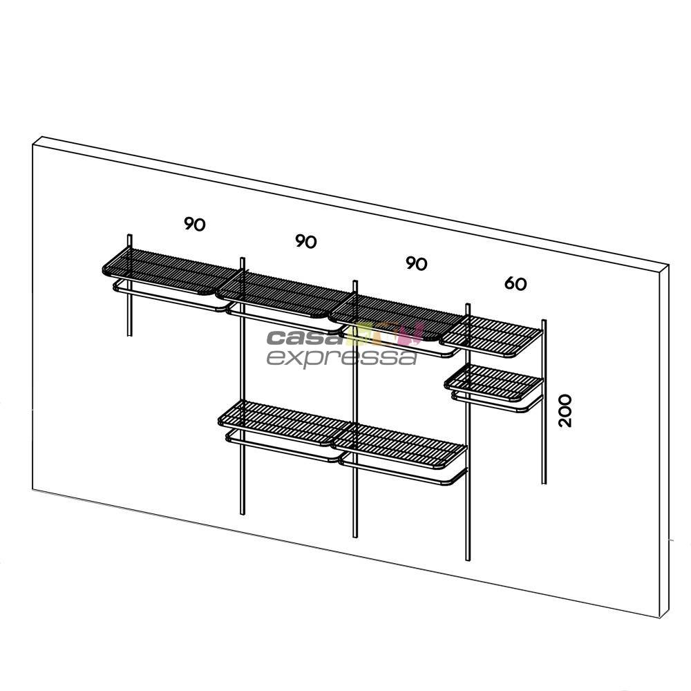 Closet Aramado - Linear CLR192 - 3,40m Smart Black - CASA EXPRESSA