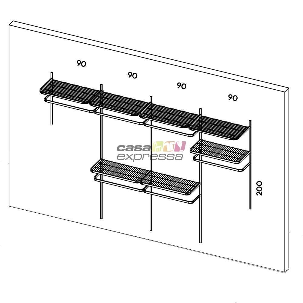 Closet Aramado - Linear CLR192 - 3,70m Smart Black - CASA EXPRESSA