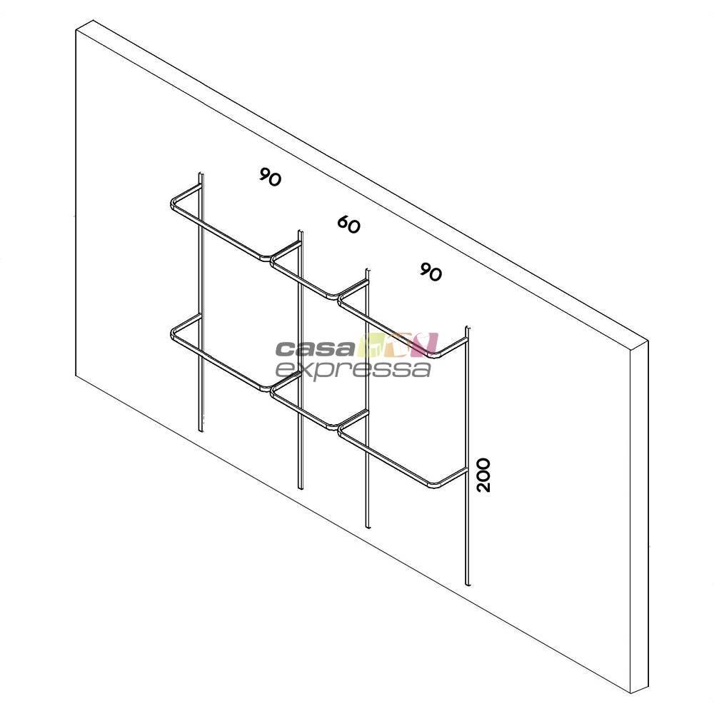 Arara de parede - 2,50m Smart Black - CASA EXPRESSA