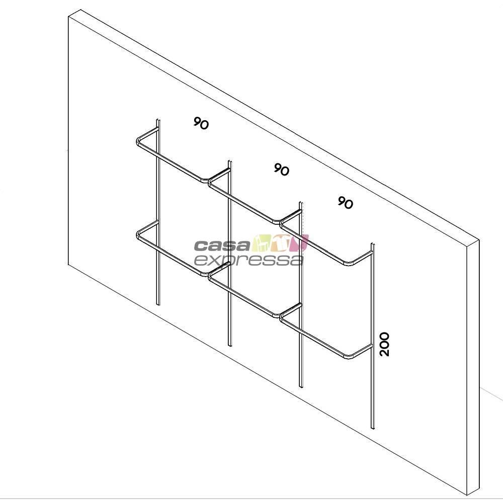 Arara de parede - 2,80m Smart Black - CASA EXPRESSA