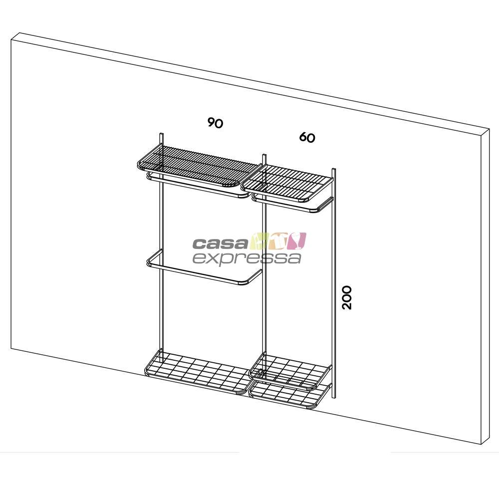 Closet Aramado - Linear CLR371 - 1,90 Smart Black - CASA EXPRESSA
