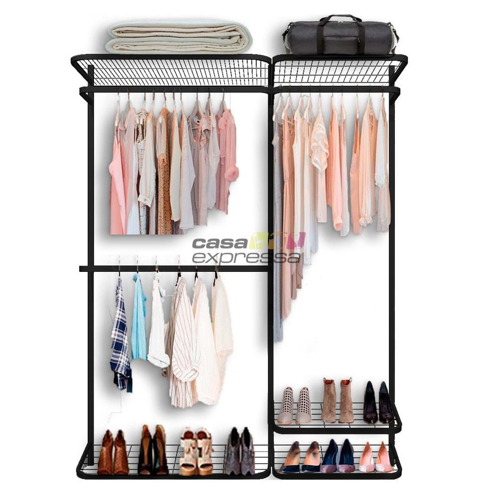 Closet Aramado - Linear CLR371 -1,60 Smart Black - CASA EXPRESSA