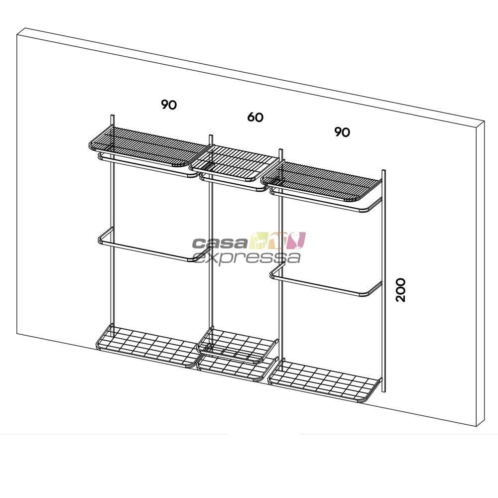 Closet Aramado - Linear CLR371 - 2,50 Smart Black - CASA EXPRESSA