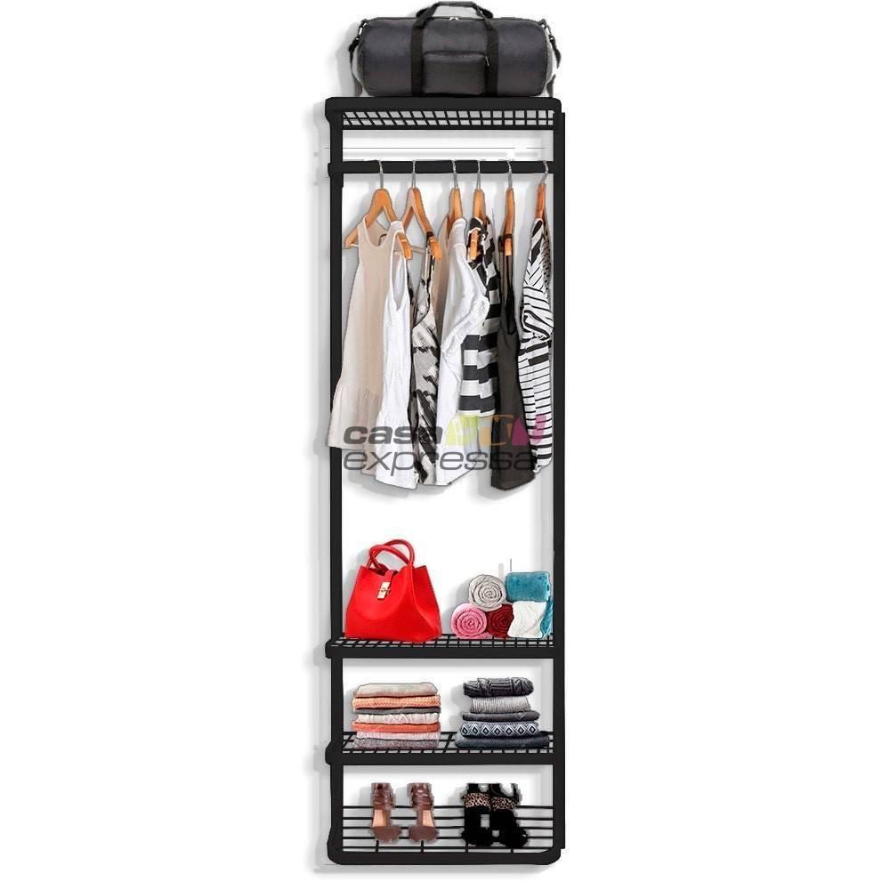 Guarda Roupa closet aramado sem portas CLR285 - 0,70 Black - CASA EXPRESSA