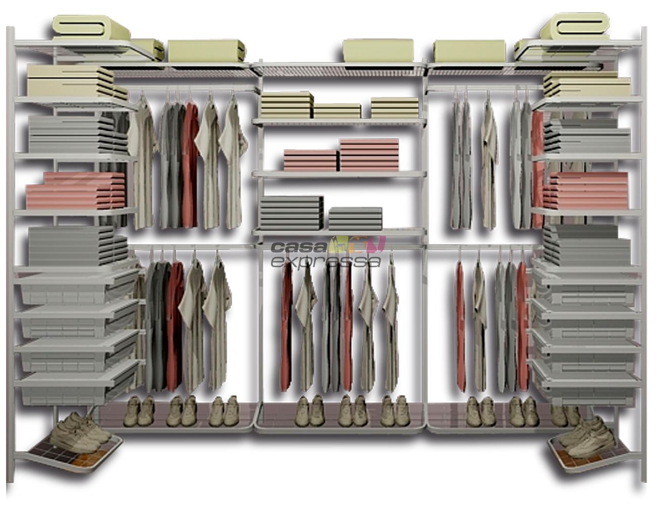 Closet Aramado em U CLU05 - 2,80m x 1,20m x 1,20m - CASA EXPRESSA