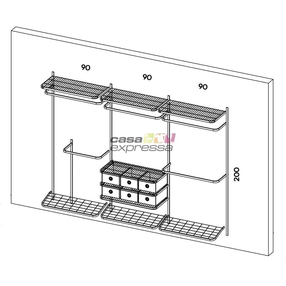 Closet Aramado - Linear CLR282 - 2,80m - CASA EXPRESSA