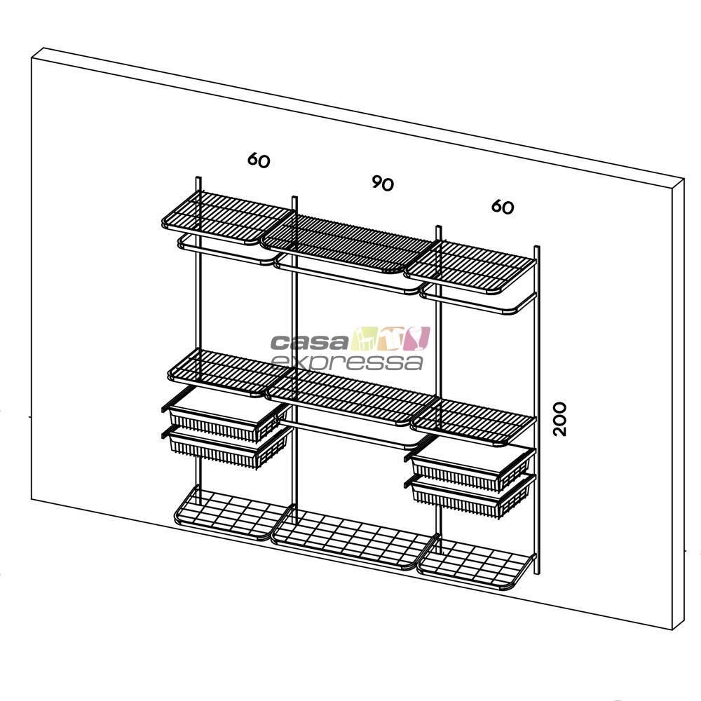 Closet Aramado - Linear CLR221 - 2,20m - CASA EXPRESSA