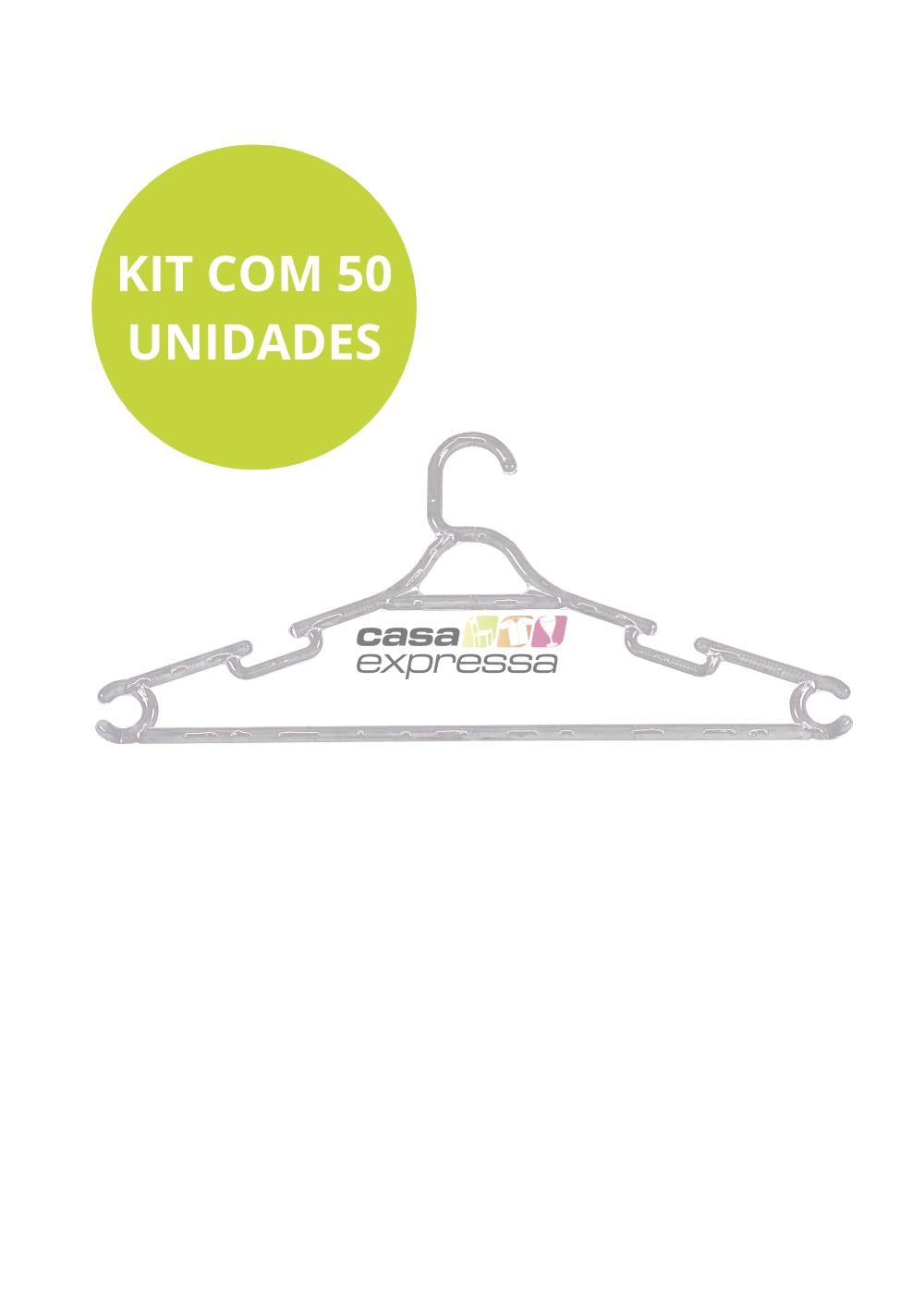 Kit de Cabide Adulto Transparente - 50 unidades - CASA EXPRESSA