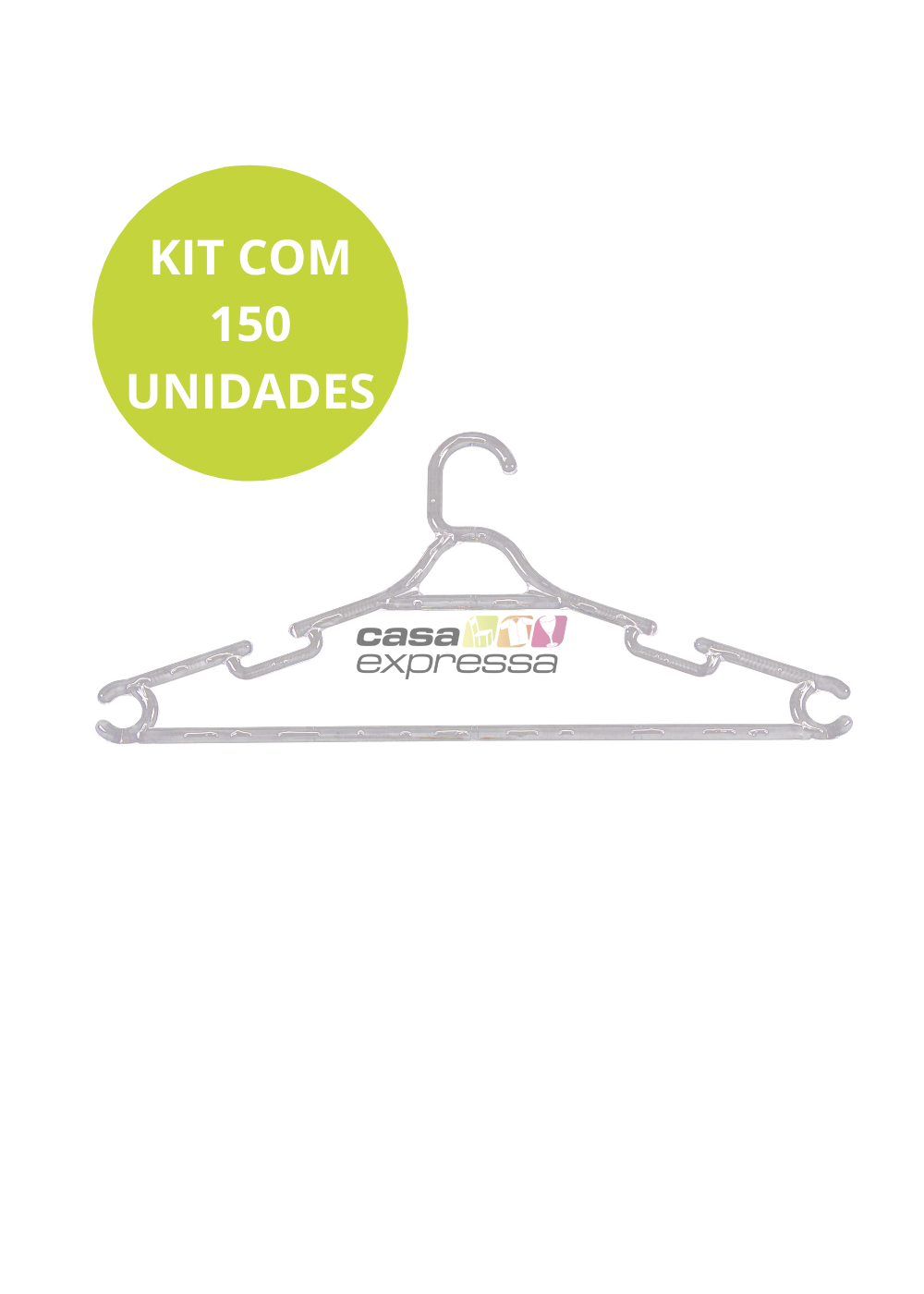 Kit de Cabide Adulto Transparente - 150 unidades - CASA EXPRESSA