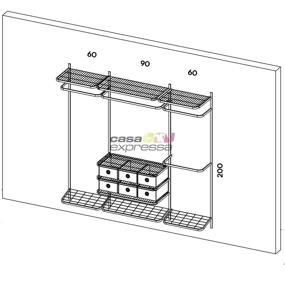 Closet Aramado - Linear CLR282 - 2,20m - CASA EXPRESSA